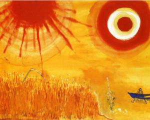 One of Chagall's 30 x 40 foot hand-painted ballet set backdrops for Aleko