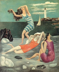 "Chanel's clingy new bathing suits captured by Picasso in ""Women Bathing"" 1918,"