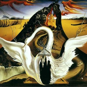 Dali's set for Massine's Bacchanale (1939). The dancers emerged from the swan's breast.