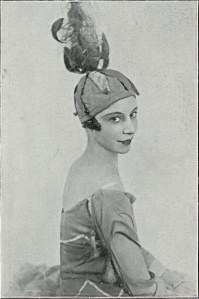 To prevent her headpieces from moving while on-stage, Markova glued them to her head!  (From Cimarosiana, 1927.)