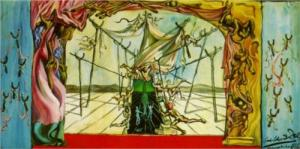 "One of Dali's proposed ""crutch-themed"" set designs for Tudor's Romeo & Juliet."