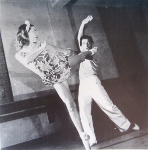 "Markova jokingly referred to herself and Dolin as ""pioneers of arena ballet."" Here shown rehearsing in 1945."