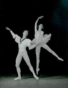 Markova, age 43,  dancing the Sugar Plum Fairy with the 25-gar-old Milorad Miskovitch