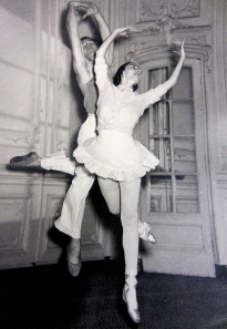 Markova vigorously rehearsing with partner Anton Dolin