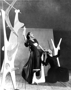 Modern ballet pioneer Martha Graham performing against a Noguchi-designed set in 1944
