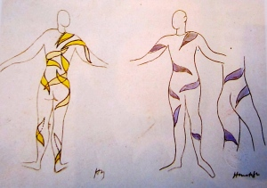 "Matisse drawings for his Rouge et Noir ""cut-out"" costumes"