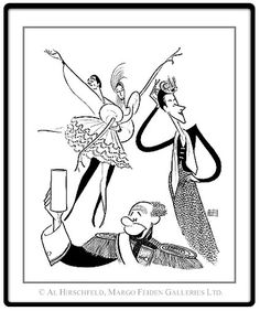 In 1945, Markova danced in Broadway's musical/comedy The Seven Lively Arts to expose new audiences to classical ballet, shown here with partner Anton Dolin and comedians Beatrice Lillie and Bert Lahr in a delightful Al Hirschfeld caricature.)