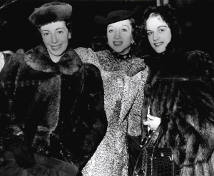 Fur coats were truly a necessity for ballerinas during frigid cross-country tours. (Here Markova, Danilova, and Mia Slavenska.)